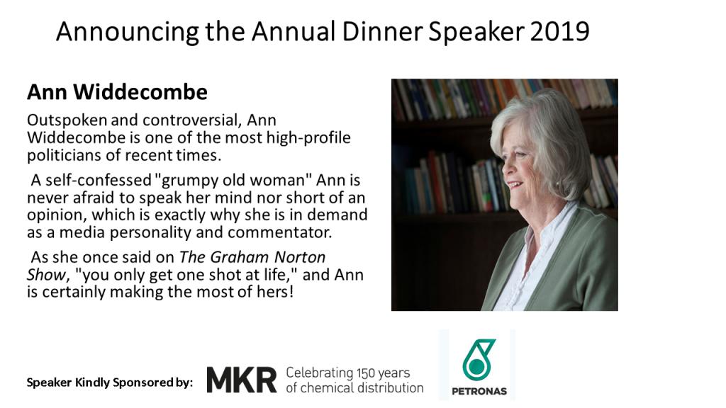 Announcing the Annual Dinner Speaker 2019 reduced