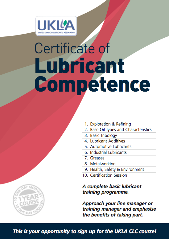 Certificate of Lubricant Competence 2014